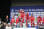 Alexander Kristoff (NOR) Team Katusha Alpecin presented to the crowd before the start of the 60th edition of the Record Bank E3 Harelbeke 2017, Flanders, Belgium. 24th March 2017.<br /> Picture: Eoin Clarke | Cyclefile<br /> <br /> <br /> All photos usage must carry mandatory copyright credit (&copy; Cyclefile | Eoin Clarke)
