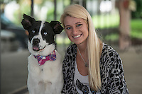 NWA Democrat-Gazette/ANTHONY REYES &bull; @NWATONYR<br /> Lindsay Soulsby with her dog Mulligan Friday, July 31, 2015 in Fayetteville. Soulsby started the Mulligan Movement, which raises funds for local shelters.