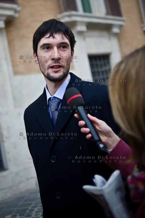 ROMA 15/03/2012: Inizia la XVII Legislatura della Repubblica Italiana. L'ingresso degli Onorevoli a Montecitorio. Nella foto  Andrea Cecconi M5S FOTO DI LORETO ADAMO