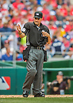 14 May 2016: MLB Umpire David Rackley works home plate during the first game of a double-header between the Miami Marlins and the Washington Nationals at Nationals Park in Washington, DC. The Nationals defeated the Marlins 6-4 in the afternoon matchup.  Mandatory Credit: Ed Wolfstein Photo *** RAW (NEF) Image File Available ***