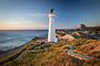 Castlepoint lighthouse and the boardwalk at sunrise, Coastal Wairarapa