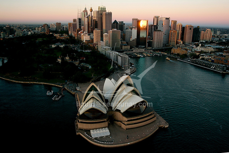 Aerial view of the Sydney Opera House in Australia, early in the morning.