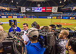 2 April 2016: Montreal Mayor Denis Coderre speaks to the press prior to a pre-season exhibition game between the Toronto Blue Jays and the Boston Red Sox at Olympic Stadium in Montreal, Quebec, Canada. The Red Sox defeated the Blue Jays 7-4 in the second of two MLB weekend games, which saw a two-game series attendance of 106,102 at the former home on the Montreal Expos. Mandatory Credit: Ed Wolfstein Photo *** RAW (NEF) Image File Available ***
