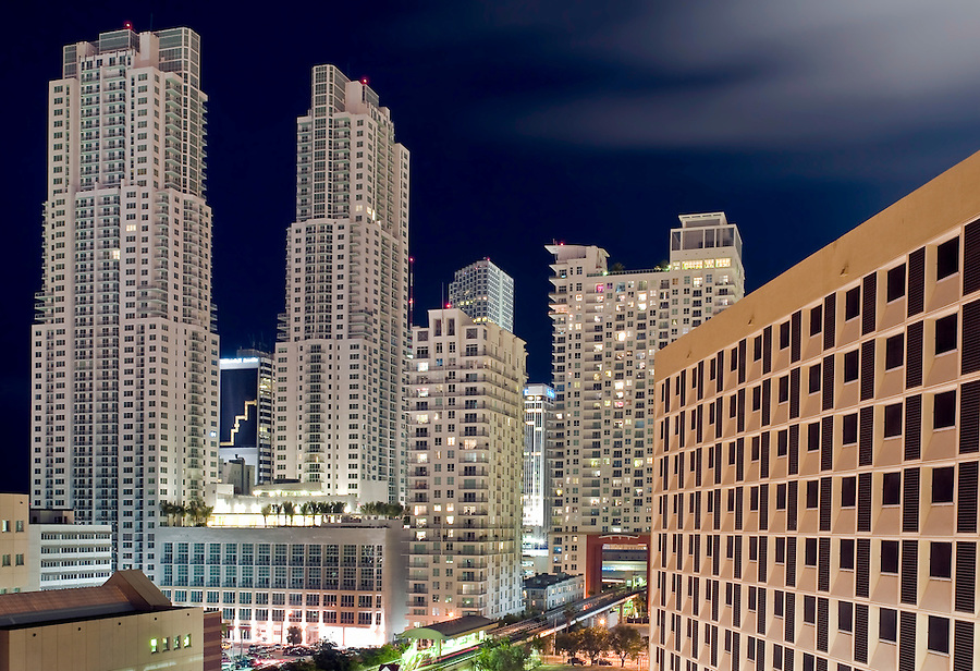 Apartment Complex in Downtown Miami at Night, Florida.