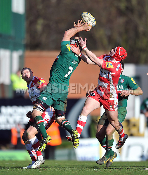 Julian Salvi claims the ball in the air. Aviva Premiership match, between Leicester Tigers and Gloucester Rugby on February 16, 2014 at Welford Road in Leicester, England. Photo by: Patrick Khachfe / JMP