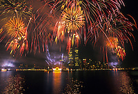4th of July Fireworks,Twin Towers, World Trade Center, Manhattan, New York City, New York, USA,designed by Minoru Yamasaki, International Style II