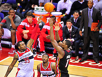 Chris Bosh of the Heat pulls up for a jumper over Trevor Booker of the Wizards. Miami defeated Washington 106-89 at the Verizon Center in Washington, D.C. on Friday, February 10, 2012. Alan P. Santos/DC Sports Box
