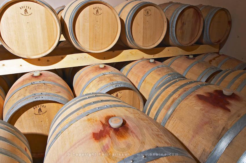 Chateau Mire l'Etang. La Clape. Languedoc. Barrel cellar. France. Europe.