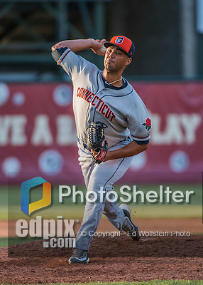 31 July 2016: Connecticut Tigers pitcher Eduardo Jimenez on the mound against the Vermont Lake Monsters at Centennial Field in Burlington, Vermont. The Lake Monsters edged out the Tigers 4-3 in NY Penn League action.  Mandatory Credit: Ed Wolfstein Photo *** RAW (NEF) Image File Available ***