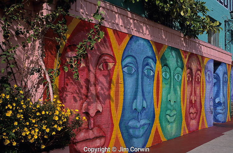 Mural painted on side of wall along Sunset Strip, Los Angeles, California USA