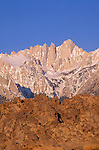 Morning light on Mount Whitney from the Alabama Hills, Sequoia National Park, Sierra Nevada Mountains, California USA