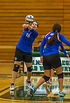 1 November 2015: Yeshiva University Maccabee Middle Blocker Marissa Almoslino, a Junior from Seattle, WA, bumps against the SUNY College at Old Westbury Panthers at SUNY Old Westbury in Old Westbury, NY. The Panthers edged out the Maccabees 3-2 in NCAA women's volleyball, Skyline Conference play. Mandatory Credit: Ed Wolfstein Photo *** RAW (NEF) Image File Available ***