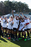 Cary, North Carolina - Sunday December 6, 2015: The Penn State Nittany Lions take a group selfie following their win over the Duke Blue Devils at the 2015 NCAA Women's College Cup at WakeMed Soccer Park.  The Nittany Lions defeated the Blue Devils 1-0.