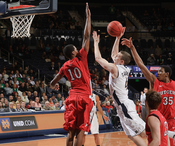 Guard Patrick Crowley (4) puts up a shot in the final seconds of Notre Dame's 71-53 win.