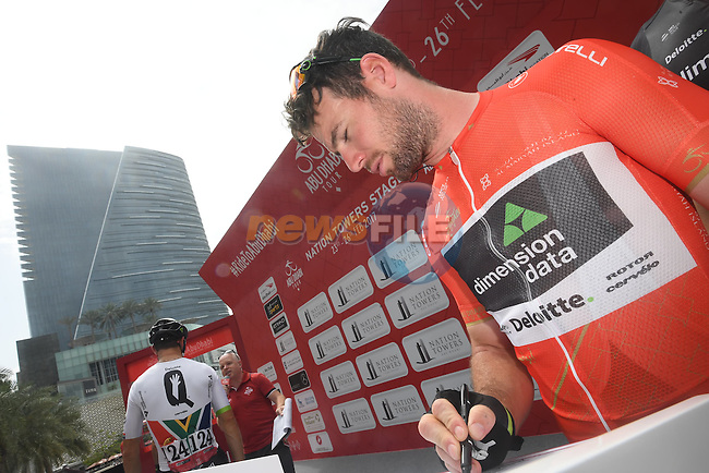 Race leader Mark Cavendish (GBR) Team Dimension Data at sign on before the start of Stage 2 the Nation Towers Stage of the 2017 Abu Dhabi Tour, running 153km around the city of Abu Dhabi, Abu Dhabi. 24th February 2017<br /> Picture: ANSA/Claudio Peri | Newsfile<br /> <br /> <br /> All photos usage must carry mandatory copyright credit (&copy; Newsfile | ANSA)
