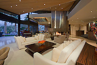 Dramatic views over large living area in ultra modern dream home