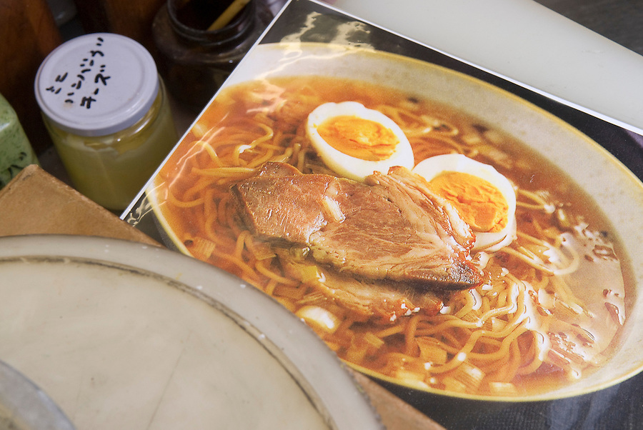 A photo used in the production of plastic noodles at Maiduru Corporation, Tokyo, Japan, 22nd December 2008. Maiduru corporation makes highly realistic plastic food for display in restaurant and cafe windows. .