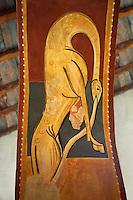 Twelfth century restored Romanesque Frescoes depicting mythical animals. The church of Saint Joan of Boi, Val de Boi, Alta Ribagorca, Pyranese, Spain. A UNESCO World Heritage Site