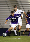 Western Illinois's Preston Bernardi (4) is chased by Duke's Chris Loftis (behind) on Tuesday, October 11th, 2005 at Duke University's Koskinen Stadium in Durham, North Carolina. The Duke University Blue Devils defeated the Western Illinois Leathernecks 2-0 during an NCAA Division I Men's Soccer game.