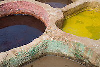 Pools of bright coloured dye at the tanneries, Fez, Morocco.