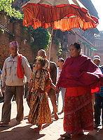 Kumari goddess taking a walk through town in dashein festival time in Bhaktapur, Nepal.Kumari is the tradition of worshipping a ritually selected young prepubescent girl as manifestation of divine female energy or devi in Hindu traditions. Kumari means young unmarried girl (Kumar is an umarried man, both names are also popular as first names in Nepal).