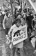 February 1970, Manhattan, New York City, New York State, USA --- American men and women in a demonstration in 1970 demanding that the Black Panther 21 be set free. The Black Panther 21 were leaders of the eastern region of the Black Panther Party who were arrested and charged with conspiracy in 1969 and then aquitted of all charges in 1971. --- Image by © JP Laffont/Sygma/CORBIS
