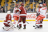 Ryan Carroll (Harvard - 35), Corey Trivino (BU - 10), Danny Biega (Harvard - 9), Chris Huxley (Harvard - 28), Alex Chiasson (BU - 9) - The Harvard University Crimson defeated the Boston University Terriers 5-4 in the 2011 Beanpot consolation game on Monday, February 14, 2011, at TD Garden in Boston, Massachusetts.