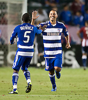 CARSON, CA – June 18, 2011: FC Dallas midfielder Daniel Hernandez (2) celebrates the second goal for Dallas during the match between Chivas USA and FC Dallas at the Home Depot Center in Carson, California. Final score Chivas USA 1, FC Dallas 2.