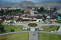 The equator line and Mitad del Mundo complex from the top of the Mitad del Mundo monument,
