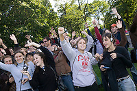 "16 October 2005 - New York City, NY - People gesture as instructed by the file playing on their handheld digital music players in Central Park, New York City, USA, 16 October 2005, during a so-called ""MP3 Experiment"" organized by Improv Everywhere, a group of young artists which seek to organize bizarre, anonymous happenings and pranks."