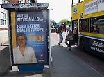 """Editorial Use Only: ..Mary Lou McDonald of Sinn Feinn says """"no"""" to the Lisbon Treaty on a bus stop at Marino, Dublin.  The advertisement on the bus promotes a """"yes"""" vote. .. The vote takes places on 12 June 2008. As of June 6th, the no-vote was reportedly overtaking the yes campaign..."""