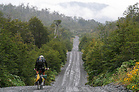 Don Thomas cycles along the Carretera Austral in Pumalin Park - Chile - South America