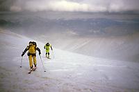 Summiting Mount Tezhler (3101 m) against stormy winds, Armenia, February 2014
