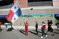 Seattle resident Ramon Castillo of Panama waves a Panama flag before the USA Men's National Team's World Cup Qualifier against Panama at Century Link Field in Seattle, WA on June 11, 2013.