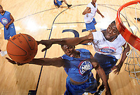 C Henry Sims (Baltimore, MD / Mt. St. Josephís) , right, blocks the shot of #106 during the NBA Top 100 Camp held Friday June 22, 2007 at the John Paul Jones arena in Charlottesville, Va. (Photo/Andrew Shurtleff)