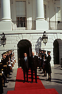 White House, Washington D.C. - March 31, 1969. United States President Richard Nixon and French President Charles de Gaulle exiting the South Wing of the White House for the funeral of President Dwight Eisenhower. He (October 14, 1890 - March 28, 1969) was the 34th President of the United States from 1953 until 1961, was a five-star general in the United States Army during World War II and was the first supreme commander of NATO.