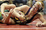 Wood River's Dakota Barg, right, wrestles Kearney Catholic's Josh Temoshek in the 145 pound weight class during the Lou-Platte Conference Wrestling Tournament at Centura High School on Saturday. (Independent/Crystal LoGiudice)
