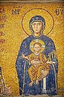 12th Century Byzantine mosaic of  The Madonna & Child,  Hagia Sophia, Istanbul, Turkey