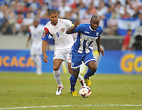 Brayan Beckles (3) of Honduras goes against Alvaro Saborio (9) of Costa Rica.  Honduras defeated Costa Rica 1-0 at the quaterfinal game of the Concacaf Gold Cup, M&T Stadium, Sunday July 21 , 2013.