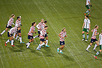 USWNT in action. USWNT played played a friendly against Ireland at JELD-WEN Field in Portland, Oregon on November 28, 2012.