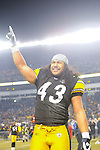 PITTSBURGH, PA - JANUARY 23: Troy Polamalu #43 of the Pittsburgh Steelers gestures to the crowd after defeating the against the New York Jets in the AFC Championship Playoff Game at Heinz Field on January 23, 2011 in Pittsburgh, Pennsylvania(Photo by: Rob Tringali) *** Local Caption *** Troy Polamalu