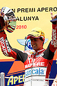 July 4, 2010 - Catalunya, Spain - Julian Simon celebrates on the podium at the end of the Moto2 cc race at Catalunya on July 4, 2010. (Photo Andrew Northcott/Nippon News)