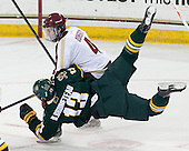 Teddy Doherty (BC - 4), Brett Bruneteau (UVM - 13) - The Boston College Eagles defeated the University of Vermont Catamounts 4-1 on Friday, February 1, 2013, at Kelley Rink in Conte Forum in Chestnut Hill, Massachusetts.