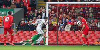 LIVERPOOL, ENGLAND - Easter Monday, April 1, 2013: Liverpool's goalkeeper Peter Gulacsi fumbles the ball into the net to gift Tottenham Hotspur an opening goal during the Under 21 FA Premier League match at Anfield. (Pic by David Rawcliffe/Propaganda)