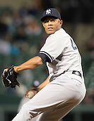 New York Yankees relief pitcher Mariano Rivera (42) works in the ninth inning against the Baltimore Orioles at Oriole Park at Camden Yards in Baltimore, MD on Monday, April 9, 2012.  The Yankees won the game  6 - 2..Credit: Ron Sachs / CNP.(RESTRICTION: NO New York or New Jersey Newspapers or newspapers within a 75 mile radius of New York City)