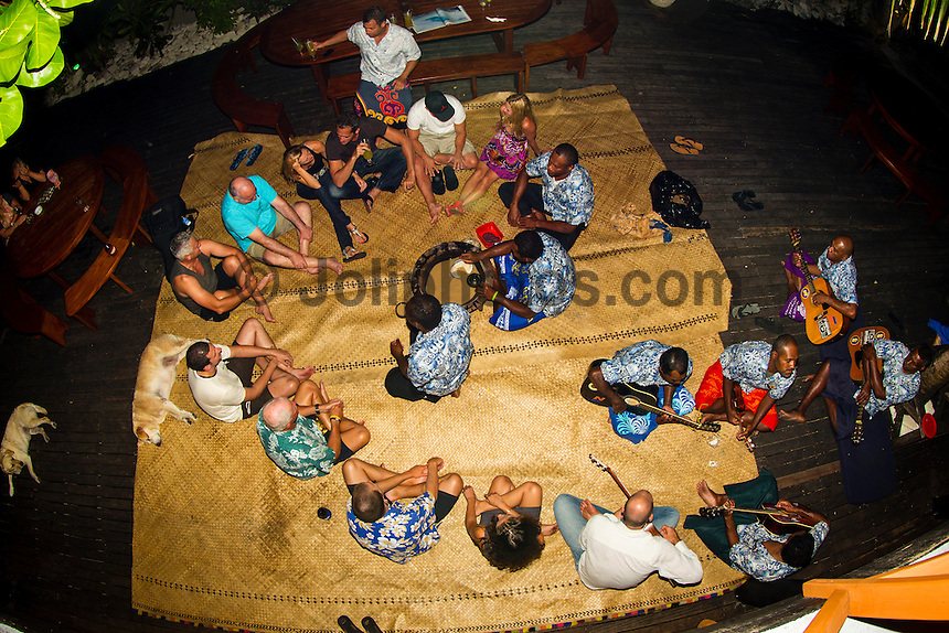 Namotu Island Resort, Fiji. (Wednesday, August 29, 2012) -   Light winds this morning and a very small swell  provided small waves at Cloudbreak, Namotu Lefts and Wilkes today. The traditional welcome kava ceremony was held tonight. Photo: joliphotos.com