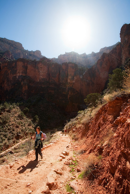 Hiking the Bright Angel Train in Grand Canyon National Park.
