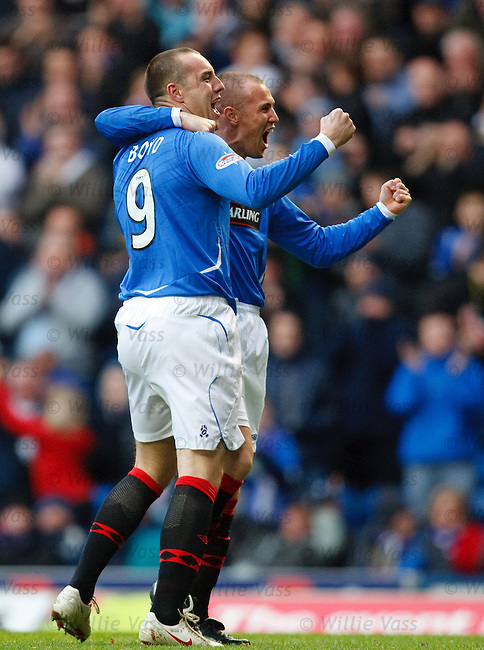 Kris Boyd and Kenny Miller celebrate the opening goal for Rangers