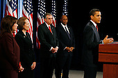 Chicago, IL - December 19, 2008 -- United States President-elect Barack Obama holds a press conference to announce his nominations of, from left to right, United States Representative Hilda Solis (Democrat of California) as Secretary of Labor; venture capitalist Karen Mills as Administrator, United States Small Business Administration (SBA); United States Representative Ray LaHood (Republican of Illinois) as Secretary of Transportation; and former Dallas Mayor Ron Kirk, as U.S. Trade Representative (USTR), Friday afternoon, December 19, 2008 at the Drake Hotel in Chicago, Illinois..Credit: Anne Ryan - Pool via CNP