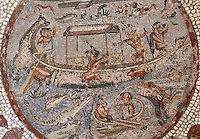 Mosaic medallion with pygmies fishing in a boat on the river Nile, 1st century AD, from the triclinium of the Casa di Paquio Proculo, or House of Paquius Proculus, Pompeii, Italy. In this central section of the mosaic floor, a pygmy is falling from the boat while crocodiles and a hippopotamus with gaping jaws wait for him in the water. Pompeii is a Roman town which was destroyed and buried under 4-6 m of volcanic ash in the eruption of Mount Vesuvius in 79 AD. Buildings and artefacts were preserved in the ash and have been excavated and restored. Pompeii is listed as a UNESCO World Heritage Site. Picture by Manuel Cohen